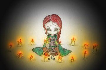 Anastasya mit Kerzen im Wald